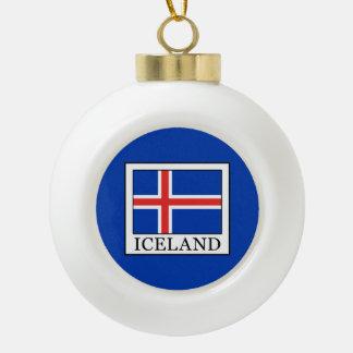 Iceland Ceramic Ball Christmas Ornament