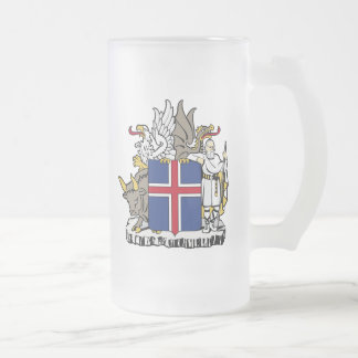 Iceland Coat Of Arms Frosted Glass Beer Mug