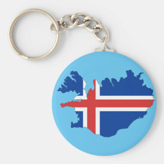 Iceland country basic round button keychain