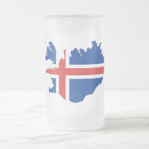 Iceland country flag frosted glass beer mug