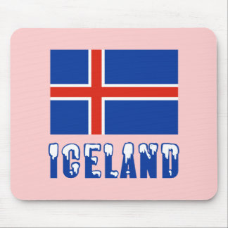 Iceland Flag and Name Snow Mouse Pad