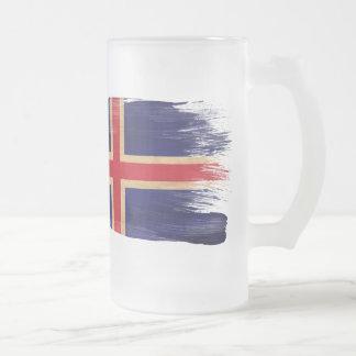 Iceland Flag Frosted Glass Beer Mug