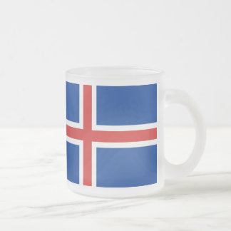 Iceland flag frosted glass coffee mug