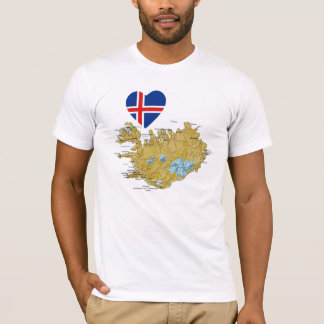 Iceland Flag Heart and Map T-Shirt