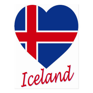Iceland Flag Heart Postcard