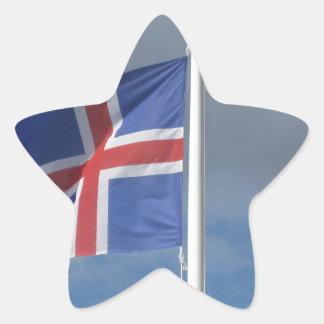 Iceland flag in the wind star sticker