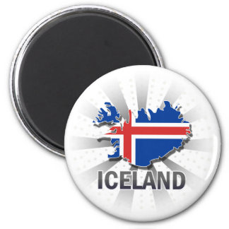 Iceland Flag Map 2.0 2 Inch Round Magnet