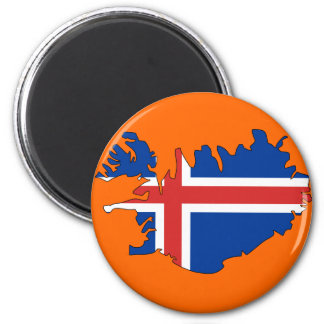 Iceland flag map 2 inch round magnet