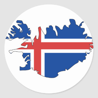 Iceland flag map classic round sticker