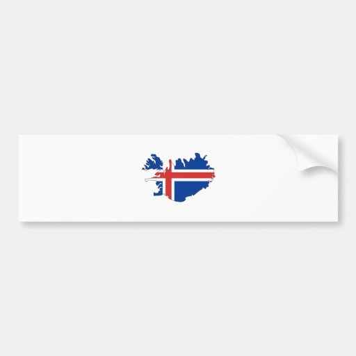 Iceland Flag Map full size Car Bumper Sticker