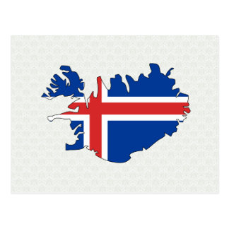 Iceland Flag Map full size Postcard