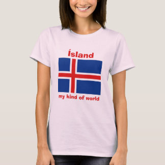 Iceland Flag + Map + Text T-Shirt