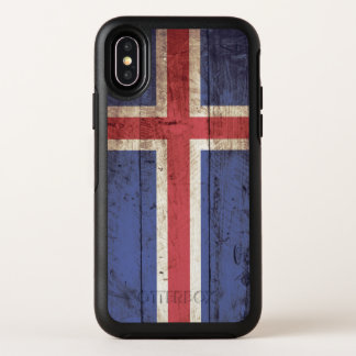 Iceland Flag on Old Wood Grain OtterBox Symmetry iPhone X Case