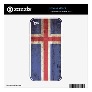 Iceland Flag on Old Wood Grain Skins For The iPhone 4S