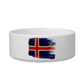 Iceland Flag Cat Water Bowl