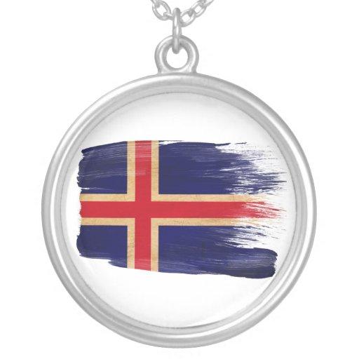 Iceland Flag Round Pendant Necklace