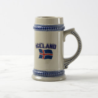 Iceland Flag (w/inscription) Beer Stein