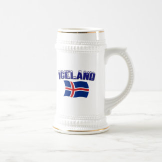 Iceland Flag (w/inscription) Beer Stein