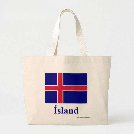 Iceland Flag with Name in Icelandic Bags