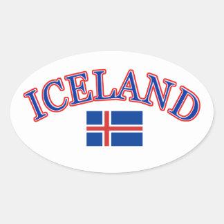Iceland football design oval sticker