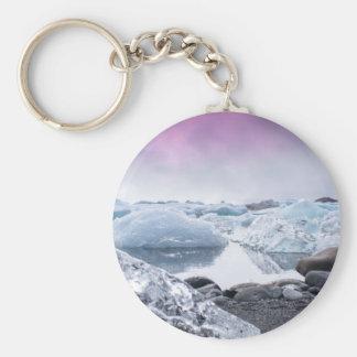 Iceland Glacier Lagoon Basic Round Button Keychain