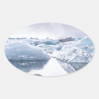 Iceland Glacier Lagoon Oval Sticker
