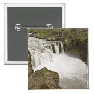 Iceland. Hafragilsfoss waterfall in Pinback Button