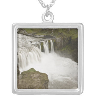 Iceland. Hafragilsfoss waterfall in Square Pendant Necklace