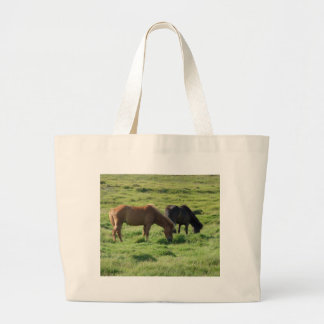 Iceland horses large tote bag