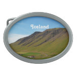 Iceland in Spring Oval Belt Buckles