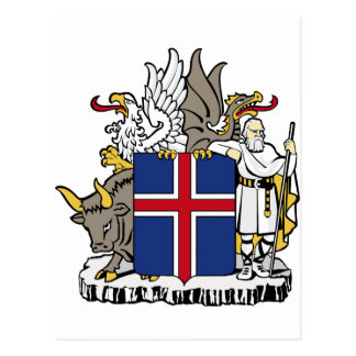 Iceland IS Ísland Coat of arms Postcard