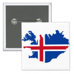 Iceland IS Ísland Flag map 2 Inch Square Button
