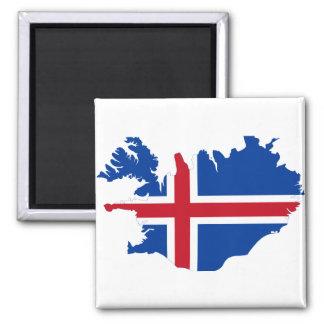 Iceland IS Ísland Flag map 2 Inch Square Magnet
