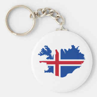 Iceland IS Ísland Flag map Keychain