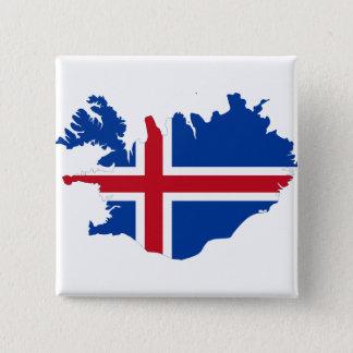 Iceland IS Ísland Flag map Pinback Button