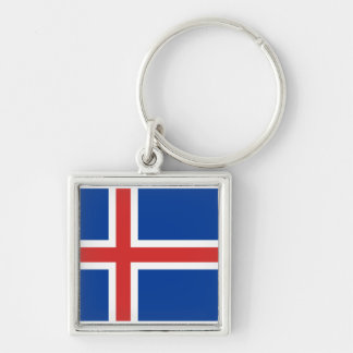 Iceland IS Ísland Flag Silver-Colored Square Keychain