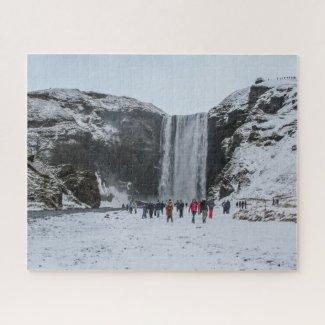 Iceland Jigsaw Puzzle - Skogafoss waterfall Winter