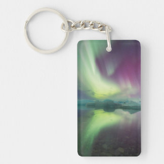 Iceland, Jokulsarlon. Aurora Lights Reflect Double-Sided Rectangular Acrylic Keychain