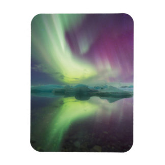 Iceland, Jokulsarlon. Aurora Lights Reflect Magnet