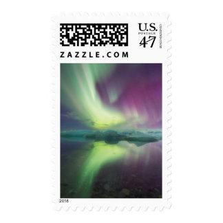 Iceland, Jokulsarlon. Aurora Lights Reflect Postage Stamp