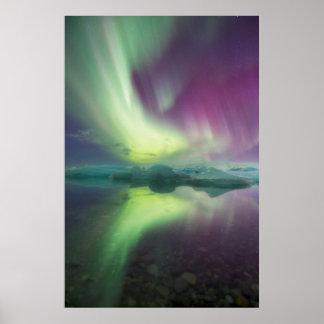 Iceland, Jokulsarlon. Aurora Lights Reflect Print