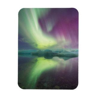 Iceland, Jokulsarlon. Aurora Lights Reflect Rectangular Photo Magnet