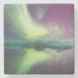 Iceland, Jokulsarlon. Aurora Lights Reflect Stone Coaster