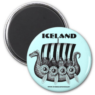 Iceland magnet with vikings in drekar pen ink art