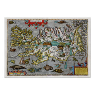 Iceland Map 1595 Poster