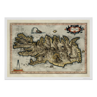 Iceland Map by Mercator Map 1595 Poster