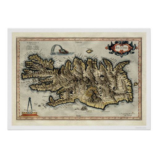 Iceland Map by Mercator Map 1595 Posters