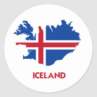ICELAND MAP CLASSIC ROUND STICKER