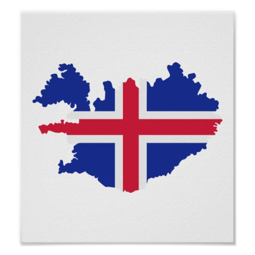 Iceland map flag posters