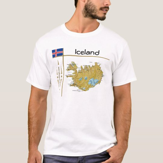 Iceland Map + Flag + Title T-Shirt